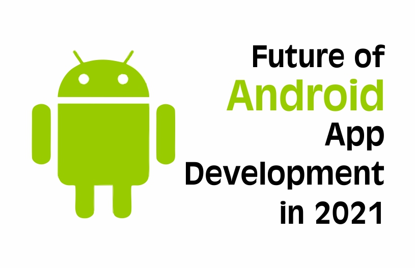 anroid logo with future of android app developemtn in 2021 text