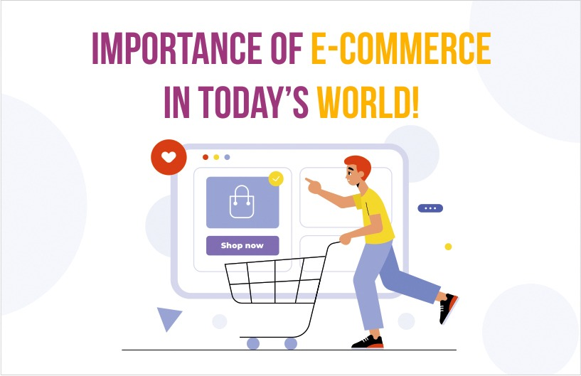 A man run with cart and write immportance of e-commerce in today's world